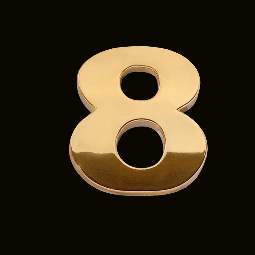 gold number 8  3cm